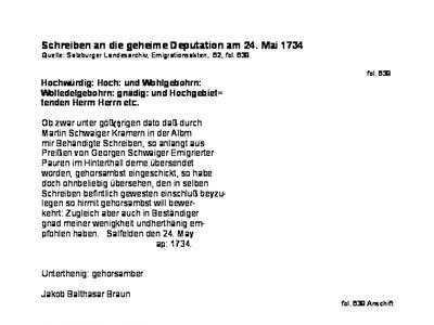 Landesarchiv Schwaiger Alois Braun Jakobbrief Schwaiger Georg1734